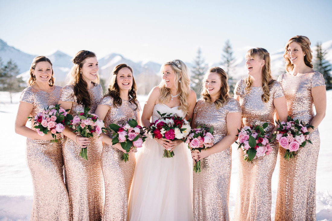 gold and pink sparkle wedding, Sun Valley Idaho, Taylor'd Events